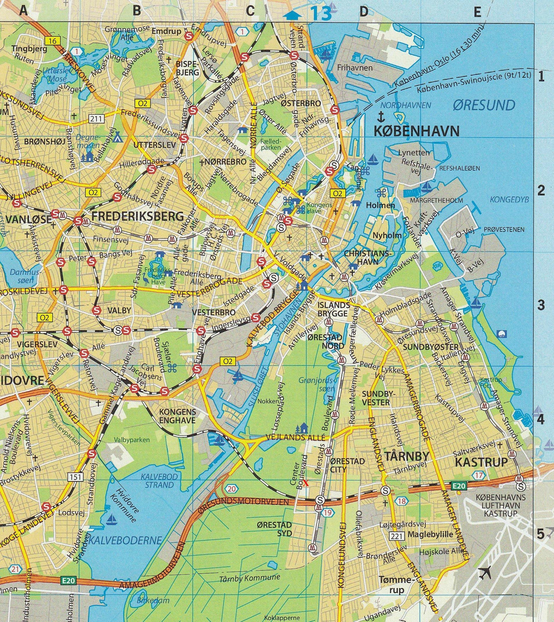 Copenhagen Denmark Map Europe